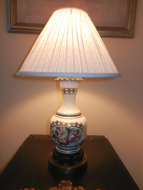 Antique Table Lamp Early 1900s Vintage Porcelain Lamp Converted Oil Lamp Electric Lamp Antique Table Lamps Lamp Porcelain Lamp