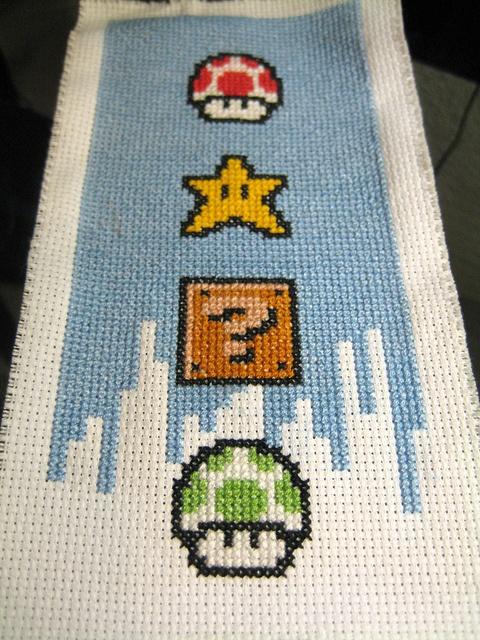 Super Mario Bros 3 immortalized in cross stitch! From VonFrau.