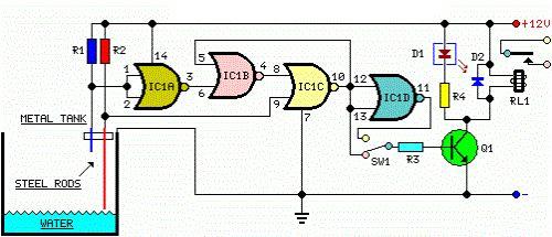 Circuito de Controle Automático de Bomba D'água usando o Nível de Caixa D'água. http://blog.novaeletronica.com.br/circuito-de-controle-automatico-de-bomba-de-agua-usando-o-nivel-de-caixa-dagua/