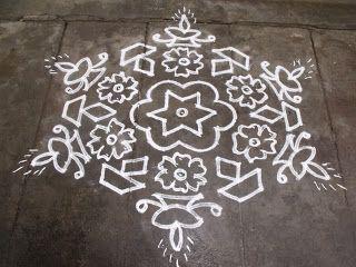 15-8 pulli kolam - interlaced dots kolam, Deepam Kolam, Lamp Kolam