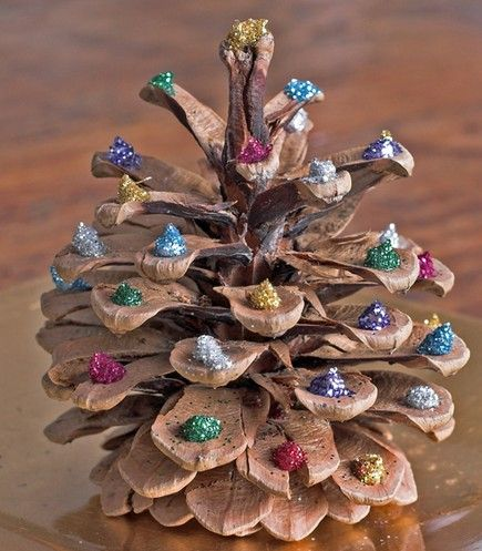 Christmas craft from pinecones