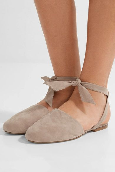 Alexandre Birman - Lace-up Suede Flats - Taupe - IT37.5