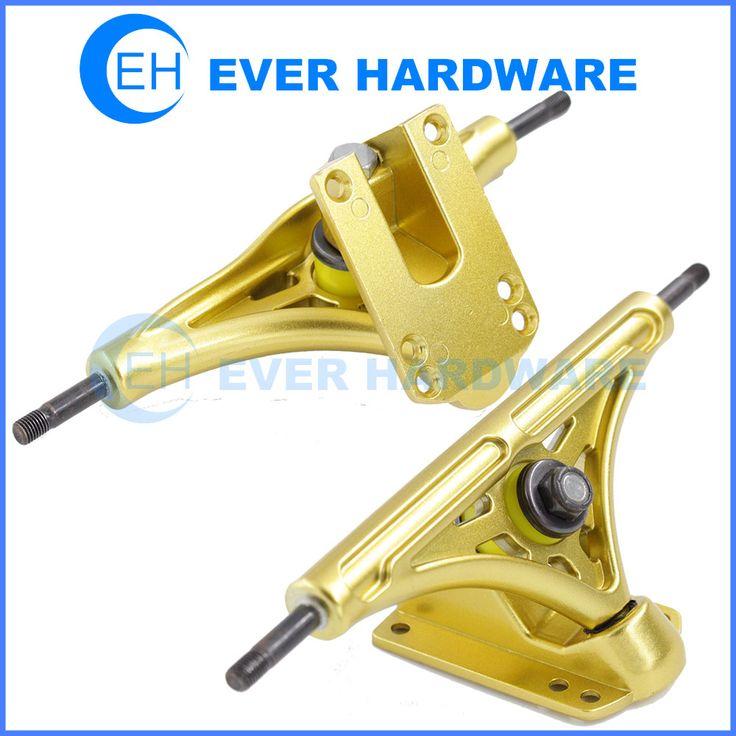 Skateboarding trucks golden skateboard hardware polished longboard pair