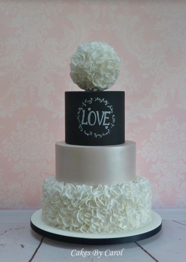 Chalkboard & Ruffles Wedding by Carol - http://cakesdecor.com/cakes/213474-chalkboard-ruffles-wedding