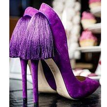 Nouveauté bout pointu orné retour frange nigériane chaussures et des sacs correspondant talons aiguilles jaune rose violet en daim femmes pompes(China (Mainland))