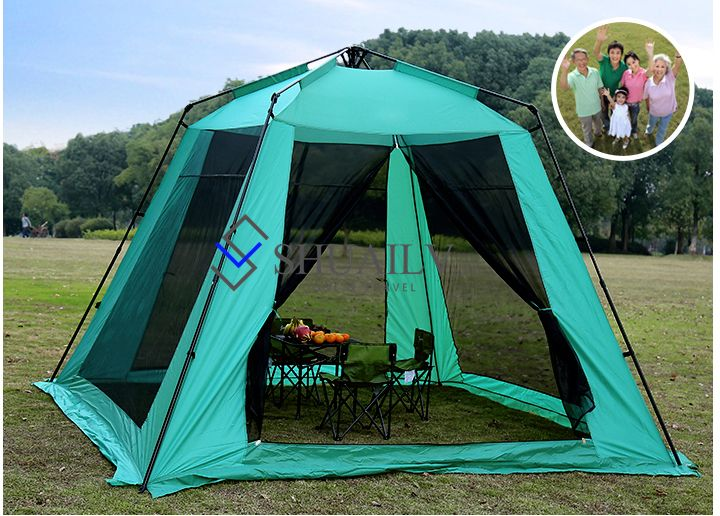5-8 People Full Automatic Large Beach Sun Tent Adult Outdoor Waterproof Camping Equipment Courtyard Leisure Tents For Summer