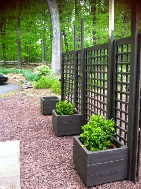 Put planting boxes on both sides to make both sides look Screens for outdoor areas