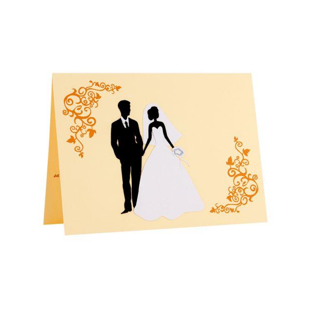 Invitatie nunta, motiv floral, cu model mire si mireasa realizat din carton aplicat manual in multiple straturi