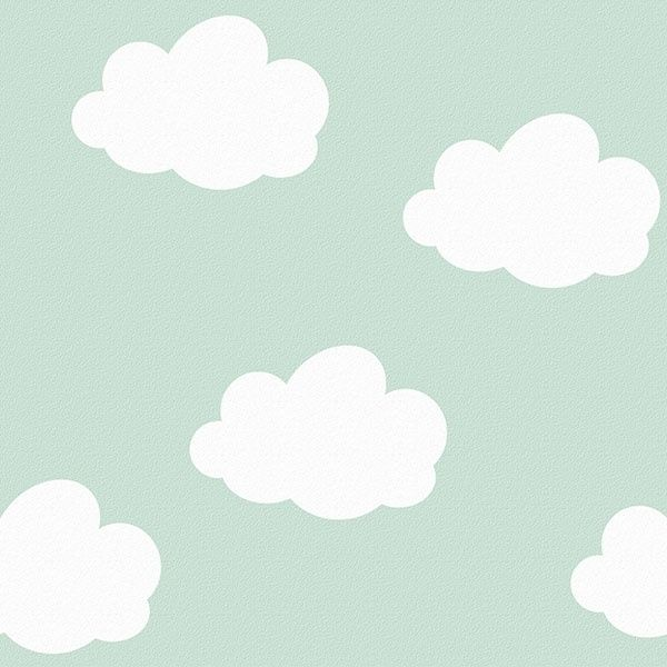 Behang Kinderkamer Wolken Mint van Inke