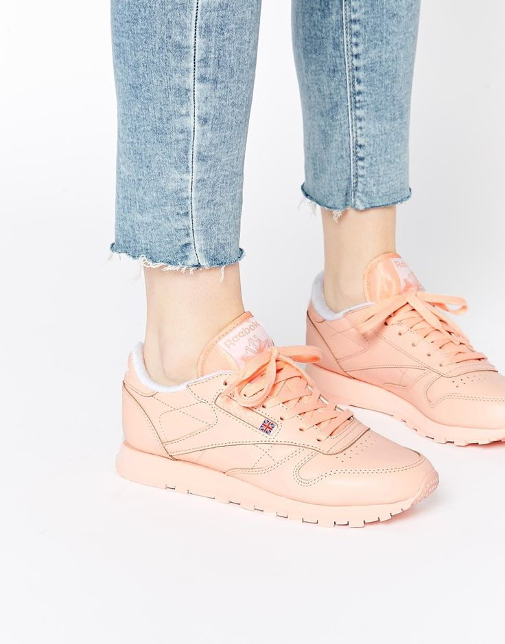 Image 1 ofReebok CL Coral Leather Trainers