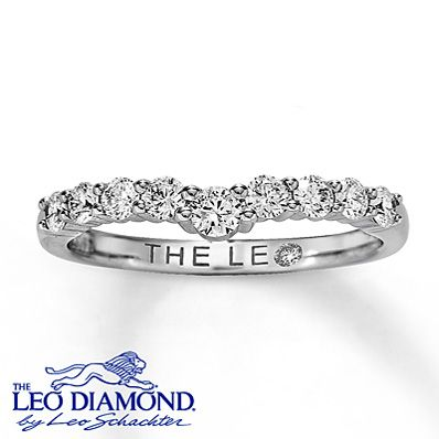 Nine Leo Diamonds will add stunning sparkle to your diamond solitaire with this 1/2 carat total weight diamond enhancer ring. 14K white gold. Each Leo Diamond is independently certified, and the unique laser-inscribed Gemscribe® serial number ensures your peace of mind.