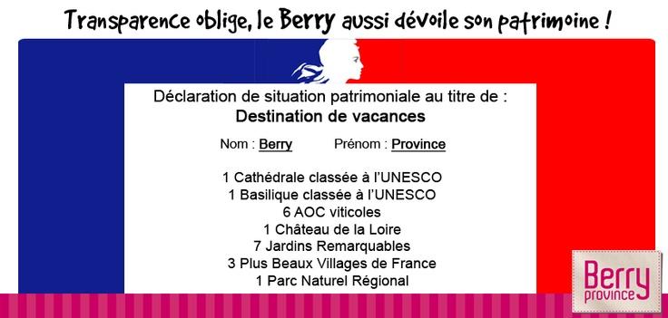 En Berry, nous n'avons rien à cacher ! Retrouvez la déclaration complète ici : http://www.berryprovince.com/