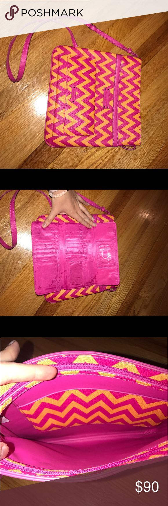 Vera Bradley Leather Chevron Purse and Wallet Pink and orange chevron Vera Bradley Purse! Minimal Use! In great condition! Vera Bradley Bags