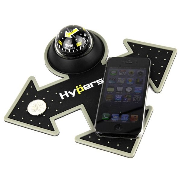 Hypersonic Car Dashboard Anti-Slip Mat Double Arrow with Deluxe Compass