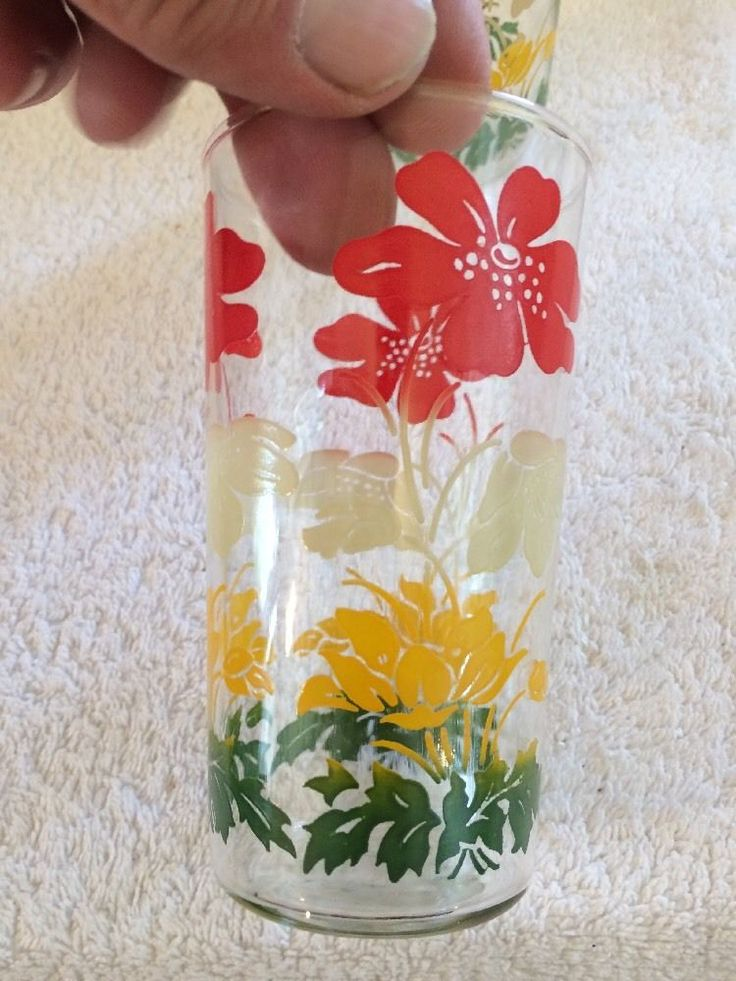 Pair Vintage Retro Multicoloured Floral Seventies Drinking Glasses in…