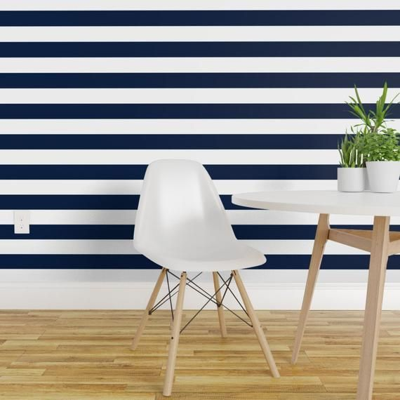 Stripes Wallpaper Navy And White Stripes Nursery By Andrea Etsy Striped Wallpaper Navy Striped Wallpaper Home Decor
