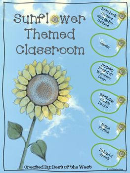 Awesome back to school set. This huge set of Sunflower Themed classroom décor consists of materials for a welcome door or bulletin board, labels for book buckets, supplies, months and days of the week, notebook covers, notebook spine covers, birthday calendars, name plates, and more.