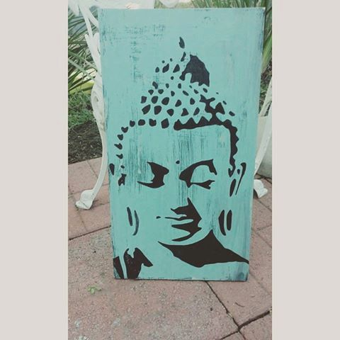 buddha wall art buddha head yoga studio by SplintersandSawdust1