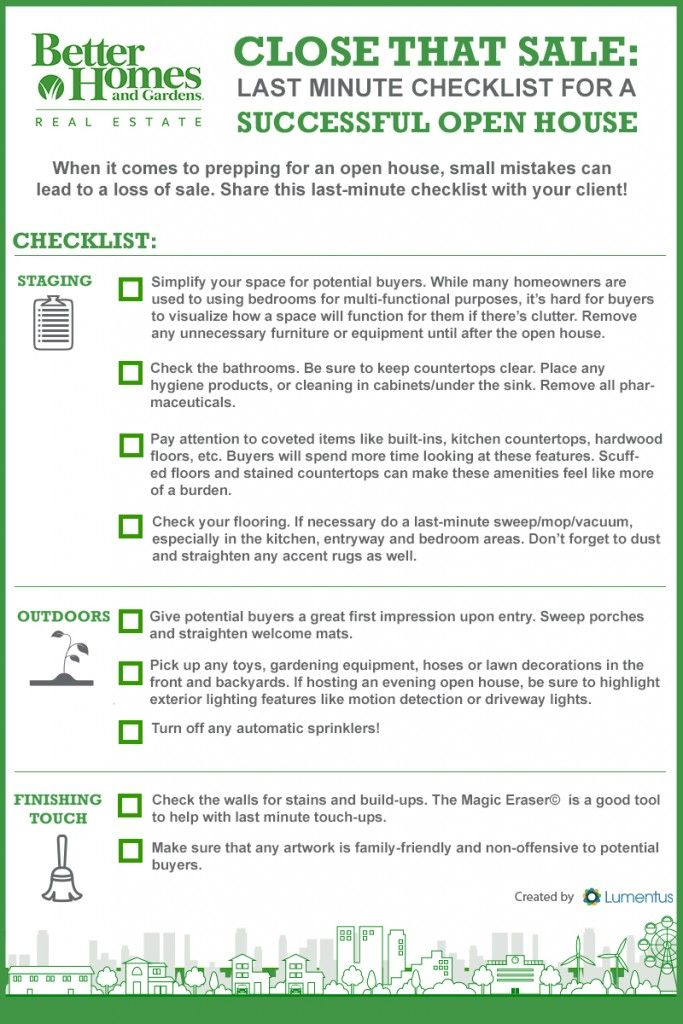 Last-minute Checklist for a Successful Open House. [INFOGRAPHIC]. Find more real estate resources on our Clean Slate blog bhgrealestateblog.com.
