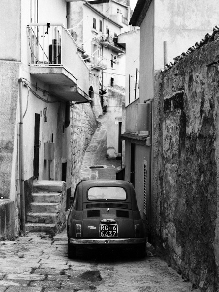 Old Fiat 500 in Monterosso Almo, Sicily (shot on film by me, 1999)