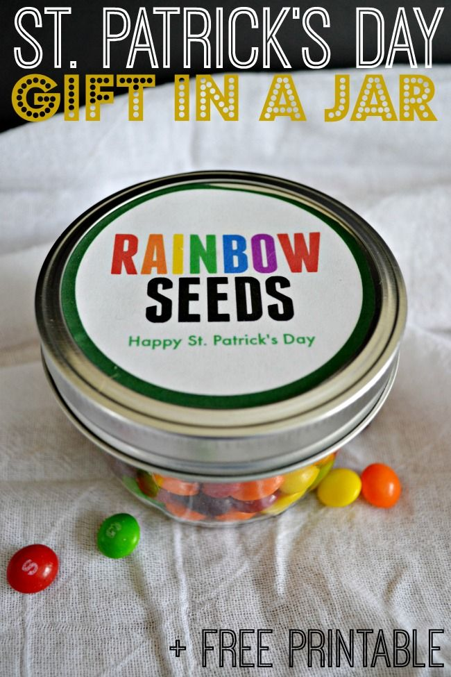 "Gift your favorite Leprechaun this super cut St. Patrick's Day ""Rainbow Seeds"" gift in a jar."