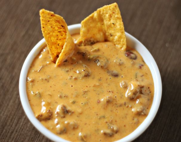Spicy Chili Queso Dip - we freaking love this stuff!!