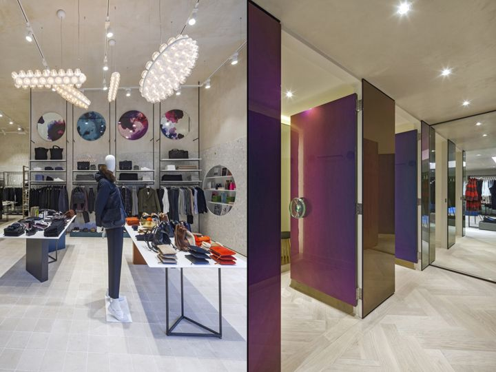 Fitting the store's affluent positioning, there will be a high level of service. This includes a large glass wrapped cash desk that accentuates the terrazzo within, complemented by a grand iridescent backdrop that connects the two floors.