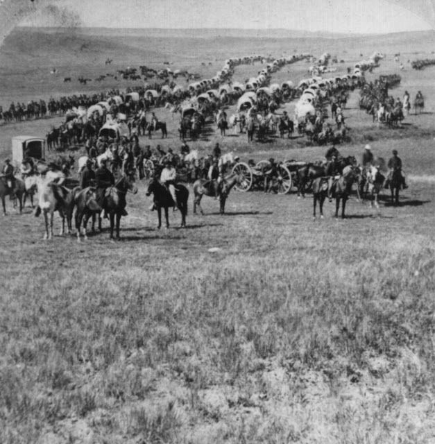 1874 Column of cavalry, artillery, and wagons, commanded by Gen. George A. Custer, crossing the plains of Dakota Territory. The Black Hills expedition.