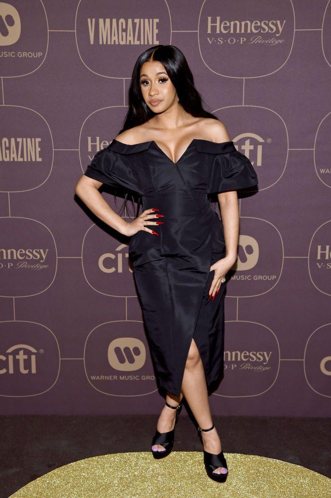 Cardi B in Carolina Herrera at the 2018 Warner Music Group Pre-Grammy Celebration #2018 #Party