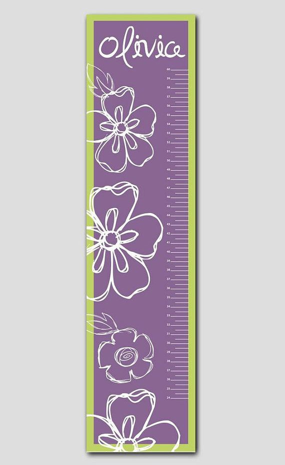 Personalized Purple and Lime Growth Chart- Vinyl Print, Growth Charts for Girls, Nursery and Childen Decor