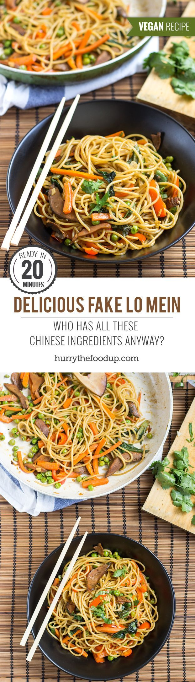 Delicious Fake Lo Mein. Ready in 20 minutes | #dinner #vegan | http://hurrythefoodup.com