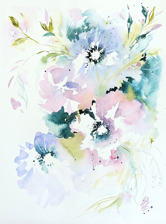 watercolor flowers original painting wall decor pink flower
