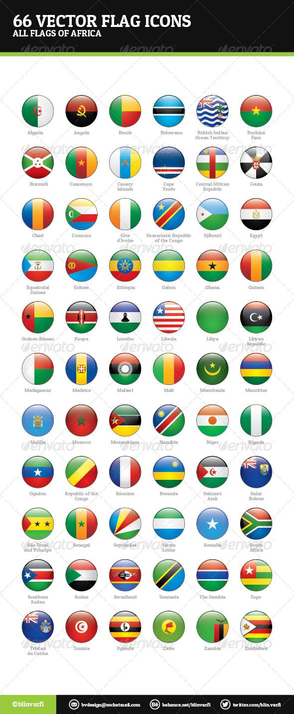 African Flags Vector  #GraphicRiver         African Flags Vector – Web Icons  African Flags Vector are a pack of 66 national flags icons.  Icon pack includes these nations:   Algeria, Angola, Benin, Botswana, Burkina Faso, Burundi, Cameroon, Cape Verde, Central African Republic, Chad, Comoros, Côte d'Ivoire, Democratic Republic of the Congo, Djibouti, Egypt, Equatorial Guinea, Eritrea, Ethiopia, Gabon, Gambia, Ghana, Guinea, Guinea-Bissau, Kenya, Lesotho, Liberia, Libya, Madagascar, Malawi…