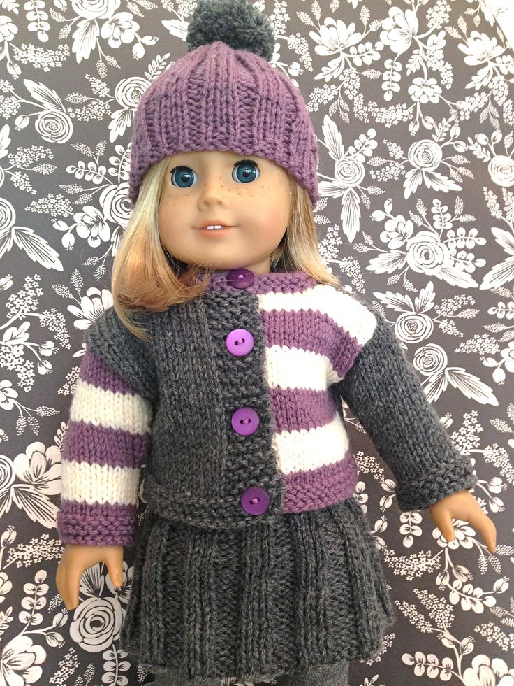 Free Knitting Pattern For Doll Hat : 191 best images about Patterns to knit American Girl Doll Clothes on Pinteres...
