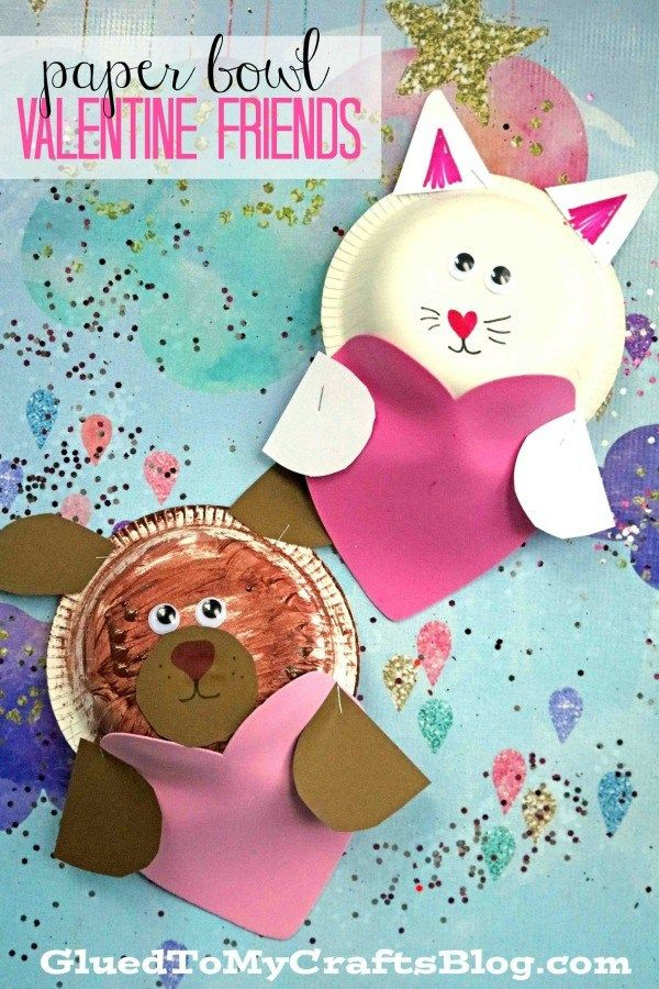 Paper Bowl Valentine Puppy And Kitty Kid Craft Glued To My