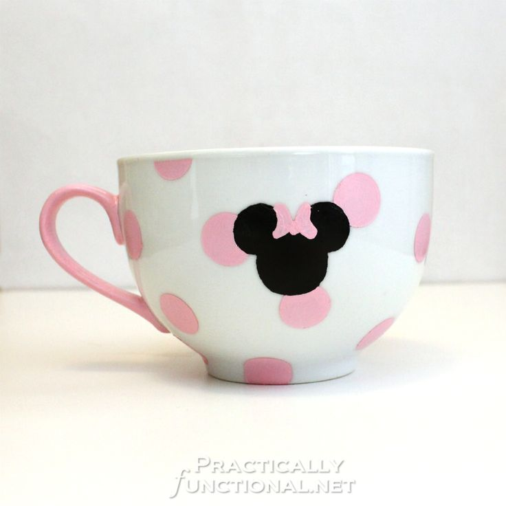 DIY Minnie Mouse Mug but with blue polka dots and a red