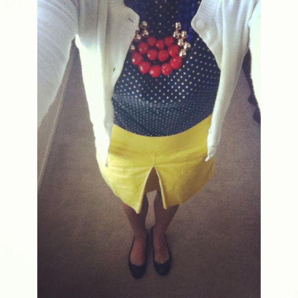 ootd   teacher clothes   teacher outfit   yellow skirt   jcrew   polka dots   statement necklace