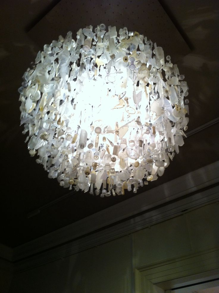 Beautiful recycled light including milk bottles, tic tac boxes etc. ( neutral colours) The Usher Gallery
