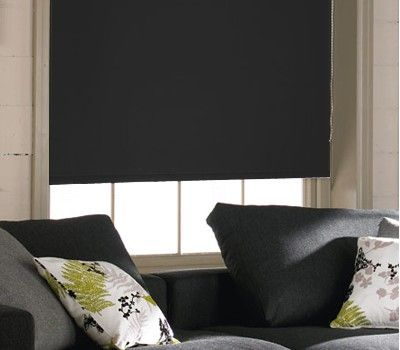 blackout blinds in acaciablack sold by bromley blinds