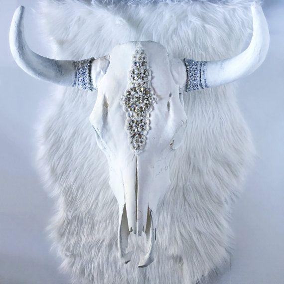Blanco sauce Rhinestone Steer cráneo cráneo de vaca cabeza