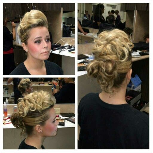 #mohawkmessyupdo I did in class last night on Ally, my hair model/classmate...#updo #mohawk #messyupdo #curls #blondehair #bellusacademy #belluspoway #cosmostudent #cosmo103 #hair