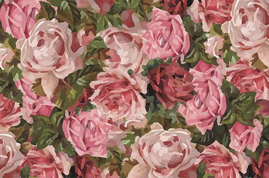 """Roses mosaic""  Big size roses, beautiful wallpaper from Scandiwall. Designer: Linda Persson"