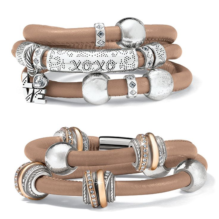 Brighton Crossings and Punch long beads on Woodstock bracelets #BrightonCharms