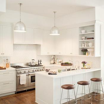 chevron backsplash and all white kitchen design jute home - Tijdelijke Backsplash