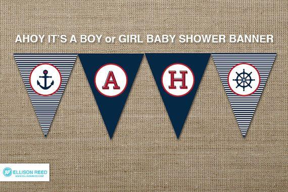 Nautique imprimable - nautique Baby Shower - bannière nautique - Ohé - ancre - anniversaire nautiques - marine - rayures
