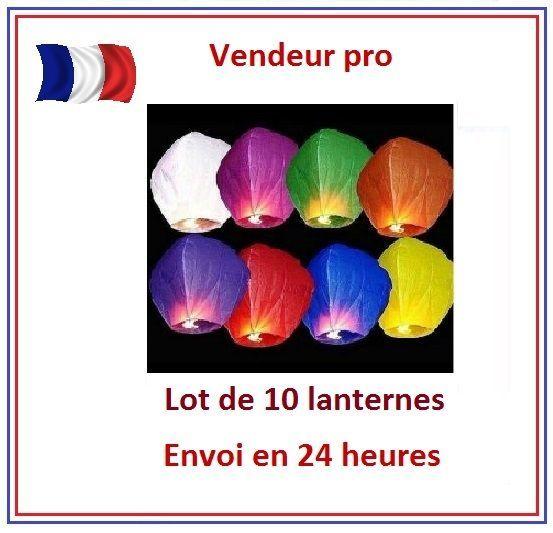 Lot de 10 lanternes céleste volantes thaïlandaise - couleur bleue