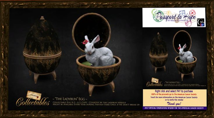 "Fallen Gods - ~Libertine~ Collectable Egg 03 ""The Ladybun Egg"" - Fantasy Faire: The Rose http://maps.secondlife.com/secondlife/FF%20The%20Rose/67/102/42"