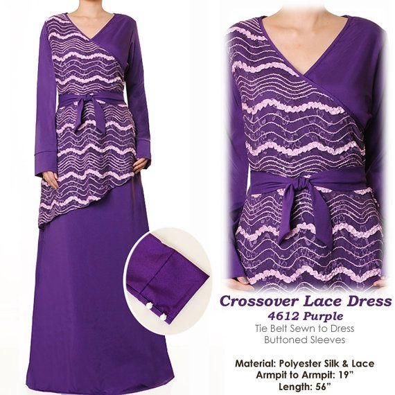 Crossover VNeck Lace Muslim Islamic Abaya Long by MissMode21, $30.00