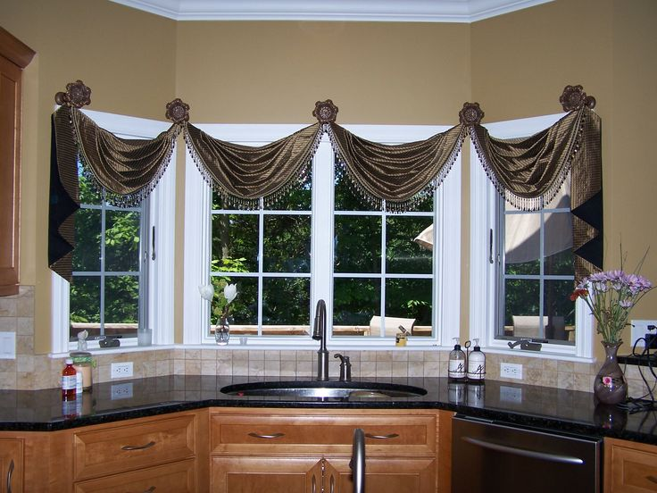 Elegant Kitchen Treatment Of Medallion Mounted Silk Swags And Cascades By Home Source Window