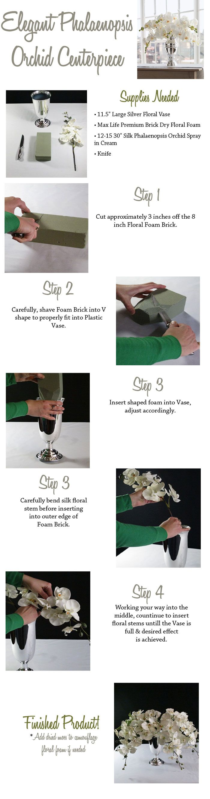 Create your elegant centerpieces with silk flowers from Afloral.com.  It is an inexpensive alternative and will create a lasting design you can use at your wedding, event, holidays or home for years to come.